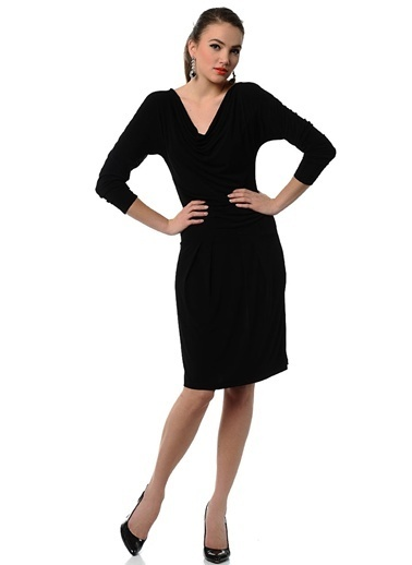 Mia V Yaka Kısa Elbise Siyah
